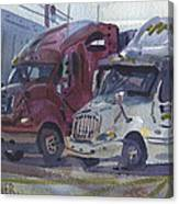 Red And White Trucks Canvas Print