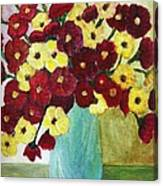 Red And Yellow Bouquet In Blue Canvas Print