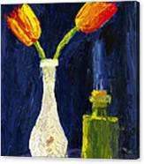 Red And Yellow Tulips In Vase Abstract Palette Knife Painting Canvas Print