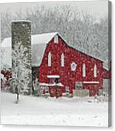 Red Barn In Heavy Snow Canvas Print