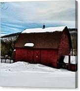 Red Barn In The Snow Canvas Print