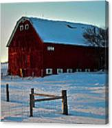 Red Barn In Winter ... Canvas Print
