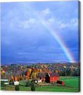 Red Barn Rainbow Canvas Print