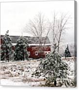 Michigan Red Barn Winter Scene Snow Landscape Canvas Print