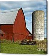 Red Barn With Silo Canvas Print