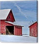 Red Barns In The Snow Canvas Print