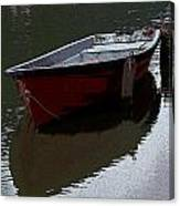 Red Boat In A Canal In The Netherlands Canvas Print