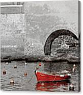 Red Boat In The Harbor At Vernazza Canvas Print