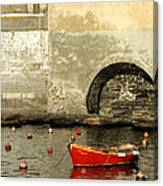 Red Boat In Vernazza Harbor On The Cinque Terre Canvas Print