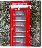 Red British Phonebox In The Snow Canvas Print