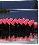 Red Canoes Maligne Lake Canvas Print