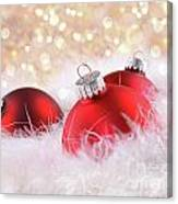 Red Christmas Balls With Abstract Background Canvas Print