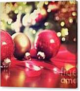 Red Christmas Ornaments With Vintage Look  Canvas Print