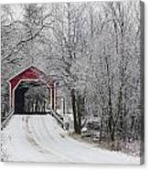 Red Covered Bridge In The Winter Canvas Print