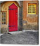 Red Door And Yellow Windows Canvas Print