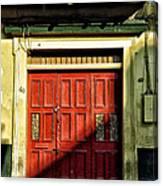 Red Door In Half Shadow Canvas Print