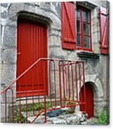 Red Door In Laroche Bernard Canvas Print