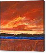 Red Field And Red Sky  Canvas Print