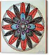 Red Flower Mandala  Canvas Print