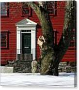Red House And Snow Canvas Print