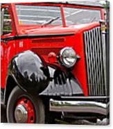 Red Jammer Tour Bus Glacier National Park Canvas Print