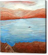 Red Leaf In Lake Juliette Canvas Print