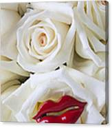 Red Lips And White Roses Canvas Print