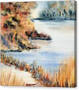 Red Maple Lake Canvas Print