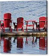 Red Muskoka Chairs Canvas Print