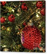Red On A Green Christmas Tree Canvas Print