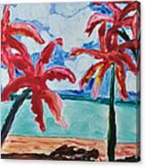 Red Palms Canvas Print