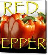 Red Peppers On White And Black Canvas Print