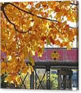 Red Railroad Trestle Canvas Print