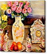Red Roses Yellow Daffodils In Hand Painted Oriental Antique Vases With Fruit Plate Doves And Angels Canvas Print