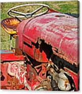 Red Rusty Beach Tractor Canvas Print