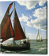 Red-sailed Sailboat And Others Canvas Print