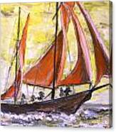 Red Sailing Boat  Canvas Print