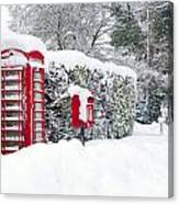 Red Telephone And Post Box In The Snow Canvas Print