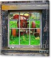 Red Tractor Thru Old Window Canvas Print