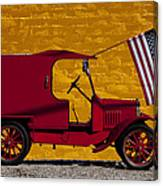 Red Truck Against Yellow Wall Canvas Print