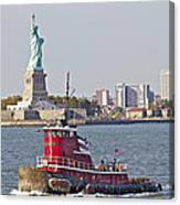 Red Tug Three And Liberty Canvas Print