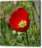 Red Tulip Birthday Canvas Print