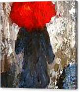 Red Umbrella Under The Rain Canvas Print