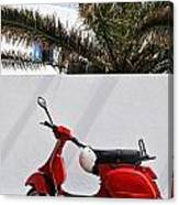 Red Vespa By Wall Canvas Print