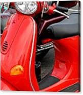 Red Vespa Vintage Scooter Motorcycle Canvas Print