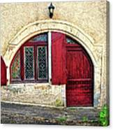 Red Windows And Door Provence France Canvas Print