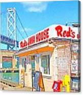 Reds Java House And The Bay Bridge At San Francisco Embarcadero Canvas Print