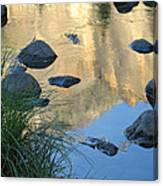 Reflecting Peaks In The Merced River Canvas Print