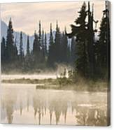 Reflection Lake With Mist, Mount Canvas Print