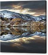 Reflections Of Cliffs On Blue Lake St Bathans Canvas Print